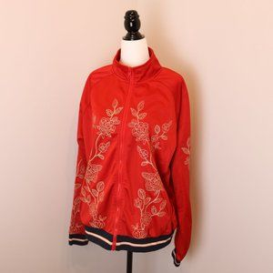 F21+ Super Cute Embroidered Floral Zip Up Jacket